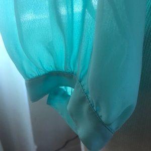 Vintage Tops - Vintage plus size -chiffon blouse-aqua blue -  14